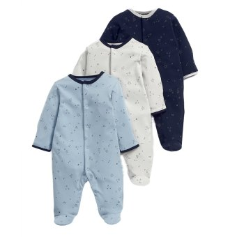 Mamas and Papas Star Blue Bodysuit Set of 3 (White/Blue)