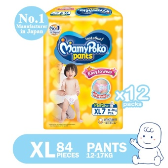 MamyPoko Pants Diaper Easy to Wear XL 7's, Pack of 12 (Case)