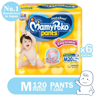 MamyPoko Pants Easy to Wear Diaper M 20's, Pack of 6