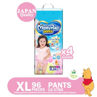 Mamypoko Pants Extra Dry Skin (Girl) XL 24's Pack of 4