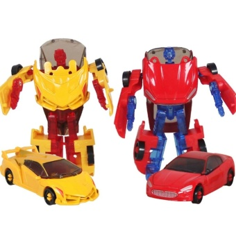 Manual Transformation Robot Car Alloy Car Model Toy Autobots Giftfor Children Random Color by LuckyGirl Store - intl