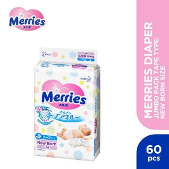 Merries Diaper Jumbo Pack Tape Type New Born (60 pcs)