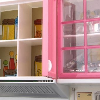 Mini Kids Modern Kitchen Pretend Play Cook Cabinet Stove Toys(Pink) - 2