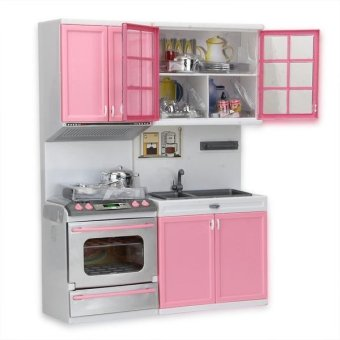 Mini Kids Modern Kitchen Pretend Play Cook Cabinet Stove Toys(Pink)