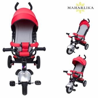 MK LJ-A19 Tricycle Assist Stroller Ride On Tricycle bicycle BikeSafety Bar Rain Safe with Double Push Steer Handle RED