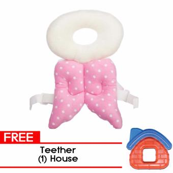 MMC Baby Head Protector Pillow Guard Headrest Toy Safety HeadProtector - Pink with Free Teether - House