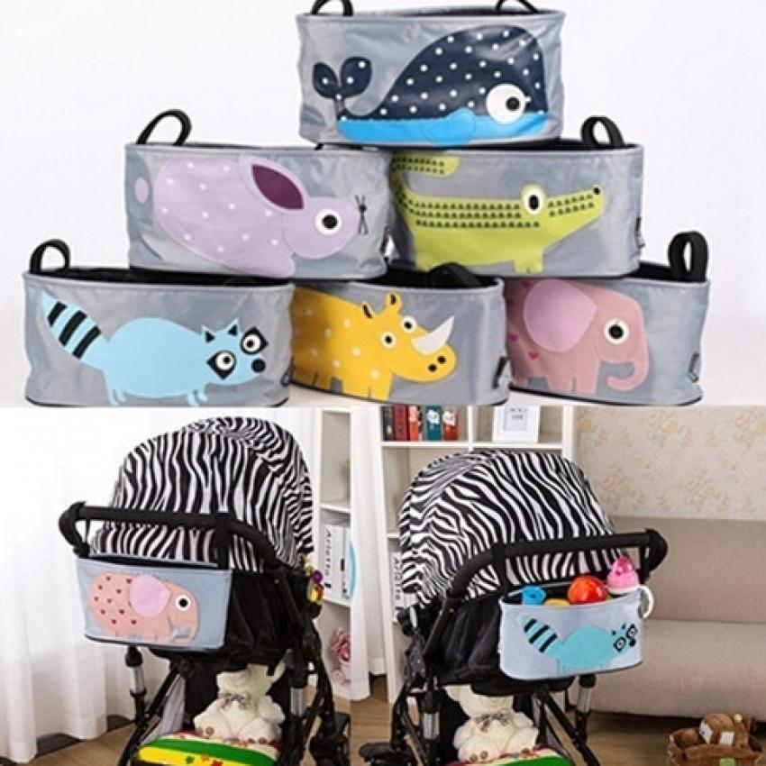 Moonar Animals Patterns Baby Stroller Organizer Storage Bag Pushchair Diaper Nappies Basket (Rabbit)