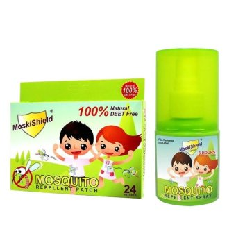 Moskishield Mosquito Repellant Patch Box of 24 with MoskishieldMosquito Repellant Spray 30ml Bundle