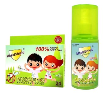 Moskishield Mosquito Repellant Patch Box of 24 with MoskishieldMosquito Repellant Spray 60ml Bundle