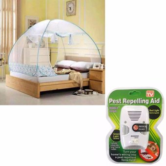 Mosquito Net 1.8m King (Blue) with As Seen on TV Riddex Quad PestRepelling Aid Features Sonic Pest Repelling Aid