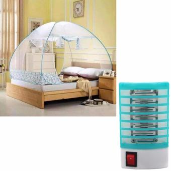 Mosquito Net 1.8m King (Blue) with Dinwang 388/DW-777 ElectronMosquito Killer Mini Night Lamp (Blue)