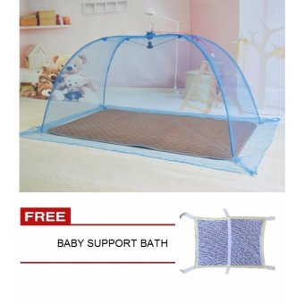 Mosquito Net Plain Blue with Baby Support Bath
