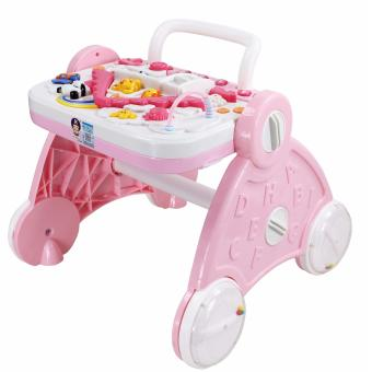 Multi-functional Educational Musical Baby Toy Walker and Food Tray(Pink)