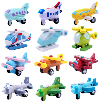 Multi-pattern Creative Toys Mini Wooden Airplane Kids Baby Educational Gift