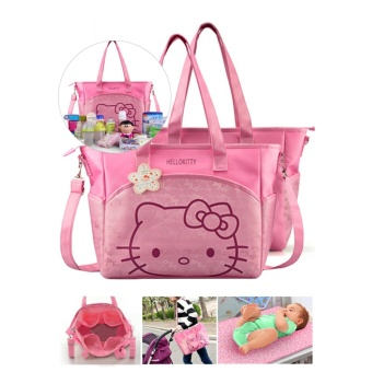 Mummy Bag with Diaper Changing Mat Baby Diaper Bag Nappy SlingShoulder Bag Multifunction Travel Bottle Holder Bag (Hello Kitty)