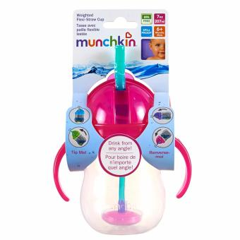Munchkin Weighted Flexi Straw cup (pink)