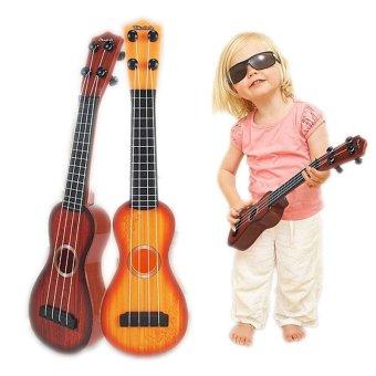 Musical Instrument Toy 4 Strings Small Guitar Ukulele for Beginners Kids - Orange - intl