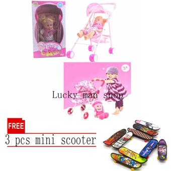 My Baby Alive Doll (Pink) with sound BIG SIZE with free 3 pcs mini scooter