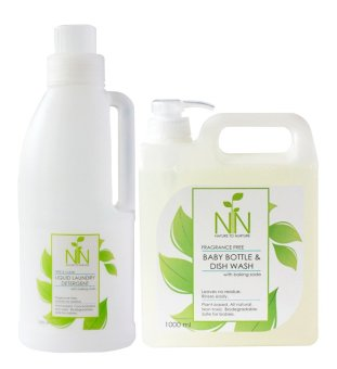 Nature to Nurture New Mom Essentials Baby Bottle & Dish Wash1000ml and Liquid Laundry Detergent Free & Clear 1000ml pack