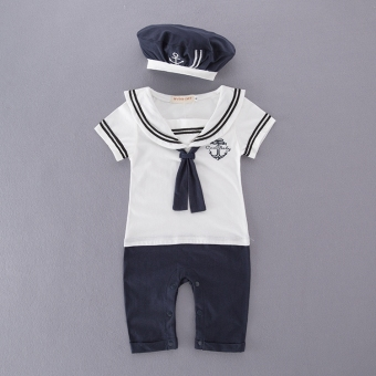 Navy newborns spring men romper onesie
