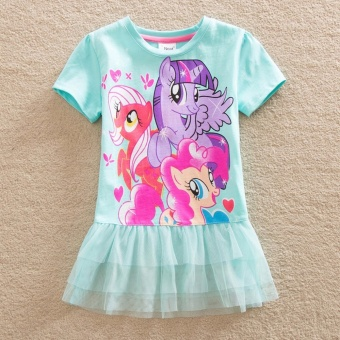 NEAT Baby Girl Dresses With Short Sleeve My Little Pony PrettyPrincess And Lace Children Clothes - intl Price Philippines