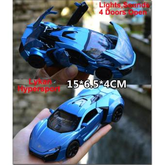 New Arrival 1:32 Lykan Hypersport Diecast Model Car with Light& Sounds,Door Opening-Blue
