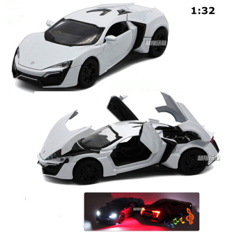 New Arrival 1:32 Lykan Hypersport Diecast Model Car with Light& Sounds,Door Opening-White