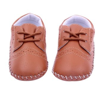 New Baby Shoes Infants Boy Handmade Stitch Pu Shoes Babe Slip-onFirst Walkers Kids Footwear Brown