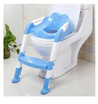 New Baby Toddler Potty Toilet Trainer Safety Seat Chair Step withAdjustable Ladder Infant Toilet Training Non-slip Folding Seat-blue- intl