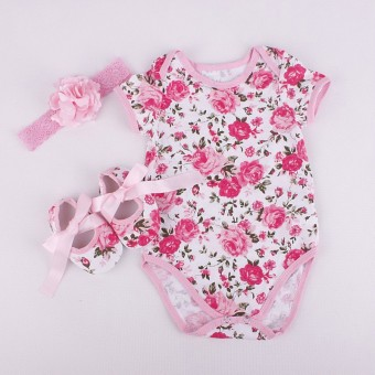 New born baby summer Clothing set Girl hot 3pcs Romper+Headband+Shoes 0-18month (Pink)