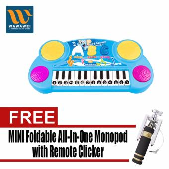 New children electronic keyboard hand drum keys combomulti-functional rechargeable light music musical instruments toys(Blue) with Free Mini Foldable All-In-One Monopod with RemoteClicker (Black)