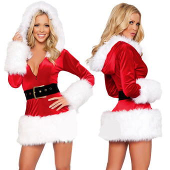 New Christmas Clothing Women Sexy Santa Claus Suits Red SkirtCostume - intl