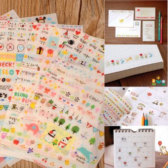 New Cute Lovely 6 Sheet Paper Stickers for Scrapbook Book Wall Phone Decor