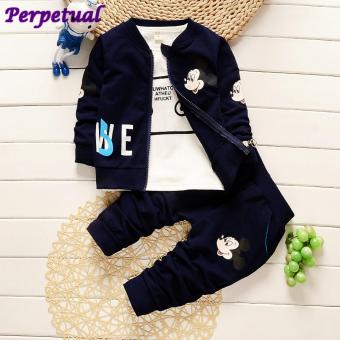 New Fashion Children Kids Spring Clothing Set Baby Child 3Piece Sets Hooded Coat Suits+ Cotton T Shirt +Pants Baby BoysJacket Clothes set For 1-3 Years Old Children - intl