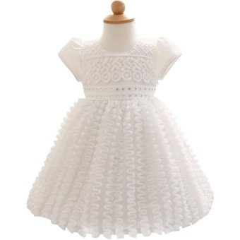 New Infant Baby Girl Dress Wedding Christening Gown Baptism ClothesFor 0-2 Year Birthday Wedding Party (White) - intl