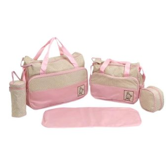 New Mommy Travel Tote Diaper Bag Polka Dot Diaper BagsMultifunction Diaper Organizer Set: Diaper Bag + Changing Pad +Wipe Container 5 in 1 (Pink)