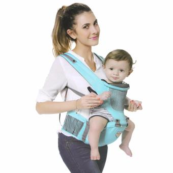 New One Baby Carrier Cotton hooded Baby backpack Hipseat 2 in 1Baby Sling (Light Blue)
