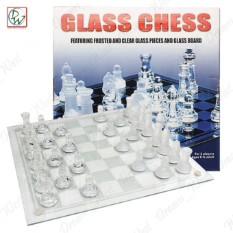 New Solid Crystal Chess 30x30cm with Checker Board Set Matte And Clear Glass Chess Game (Medium)