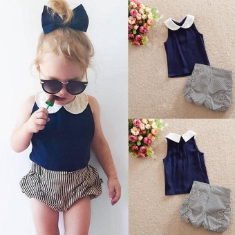 New Toddler Kids Baby Girls Summer Outfits Clothing T-shirt Tops+Pants Set(100cm) - intl