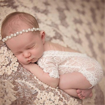 Newborn Baby Bodysuit Girl Lace Floral Romper Photo PropsPhotography Costume - intl
