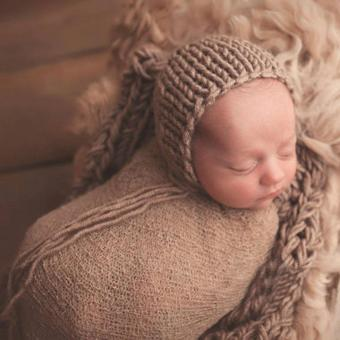 Newborn Baby Cotton Linen Swaddle Wrap Photography Prop (Khaki) -intl