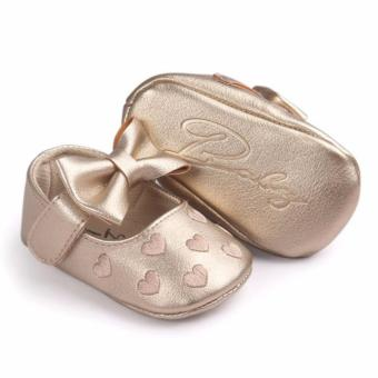 Newborn Baby Girl Cute Soft Soled Breathable Anti-slip PU Leather Shoes (gold)