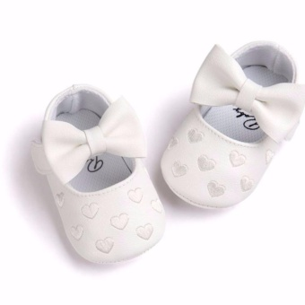 Newborn Baby Girl Cute Soft Soled Breathable Anti-slip PU LeatherShoes (white)