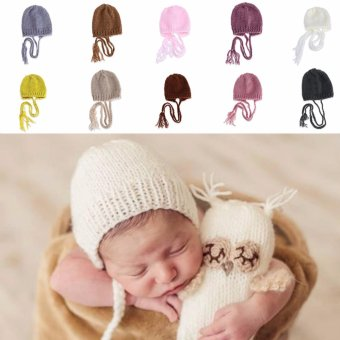 Newborn Baby Girls Boys Crochet Knit Costume Photography PropOutfits Hats Caps(Beige) - intl