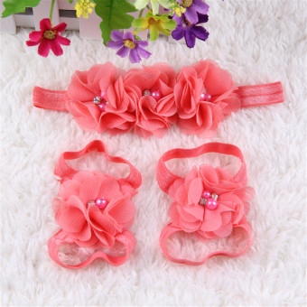 Newborn Baby Girls Colorful Flower Headband Sandals Toddler Barefoot Shoes Set