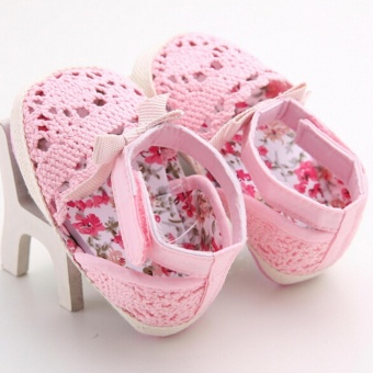 Newborn Baby Infant Boy Girl Crochet Knit Toddler Crib ShoesHandmade Soft Sole(Pink) - intl