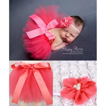 Newborn Baby Infant Costume Hair Band Bowknot Tutu Skirt