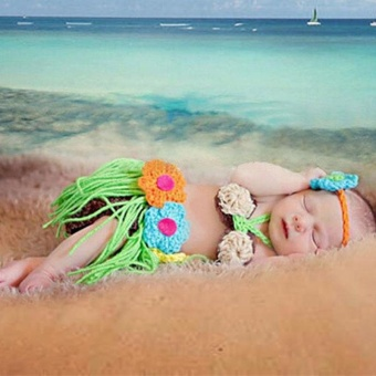 Newborn Baby Photography Props Costume New Born Beach Grass Tutu Infant Skirt Handmade Crochet Flower Headwear Outfit Fotografia - intl