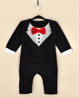 Newborn Clothes Baby Boys Clothes Bowknot Gentleman Cotton 0-3YearsBlack - intl