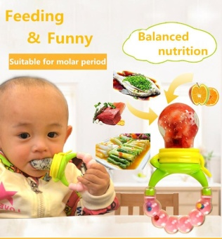 Newborn Fresh Fruits Vegetables Food Feeder Silicone Teat FoodSupplement Prop Training Device Molar Rod Solid Feeding UtensilsPacifiers Baby Teethers with Bells (Small) - intl